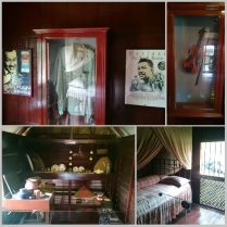 Inside his humble home