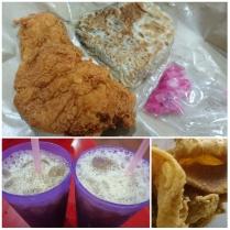 Just a simple dinner of soya bean drink with gula melaka (RM1.20 each), shared chicken skin (RM2), beef murtabak (RM2.50) and fried boneless chicken thigh (RM4)
