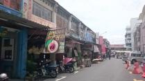 Closed shophouses next to Chowrasta market