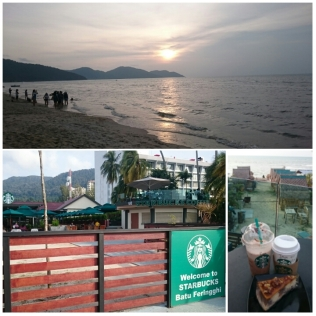 The beach during sunset and the Starbucks at Batu Feringghi