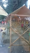 The kampong house made of bamboo and dried leaves