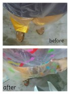 190216: The before and after performing in the rain. The confettis add colours to the poncho. Sandals and pants were wet