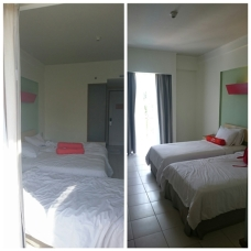 Our room with and without the extra bed