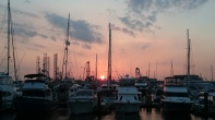 Beautiful sunset over the marina