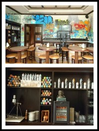 Bar at Hotel Jen Tanglin. That is the work of a Hong Kong graffitti artist